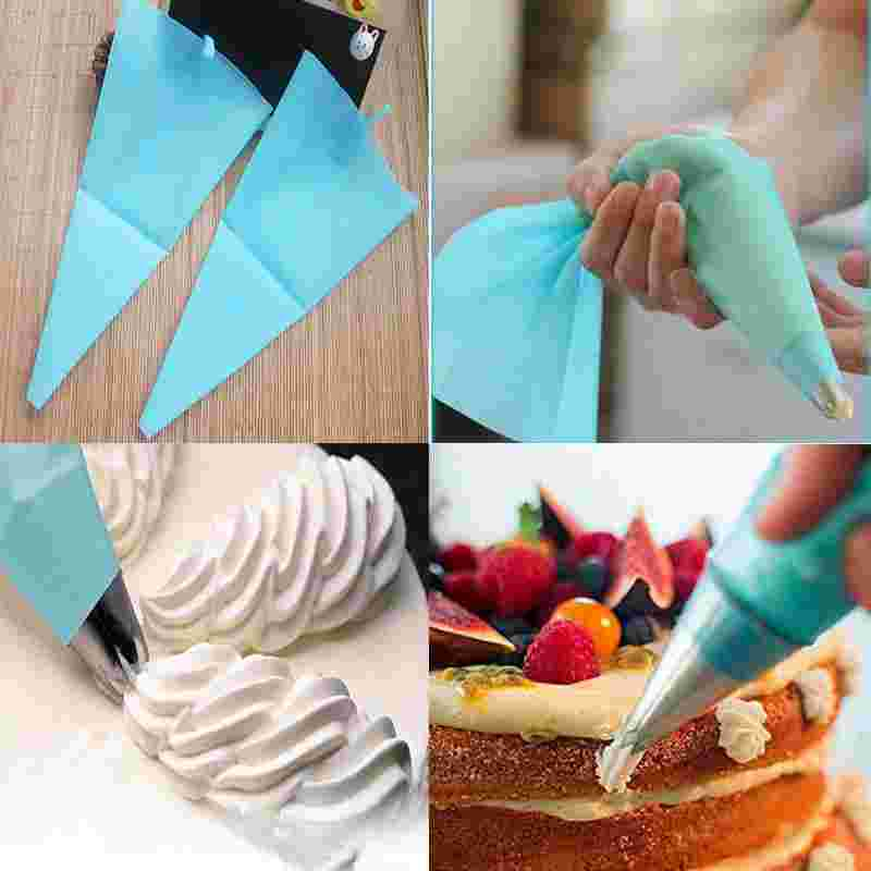 BAKE\'n\'CAKE Tools DIY Cake Decorating Tools Blue Silicone Icing Piping  Cream Pastry Bag 3 Sizes Reusable Batter Dispenser