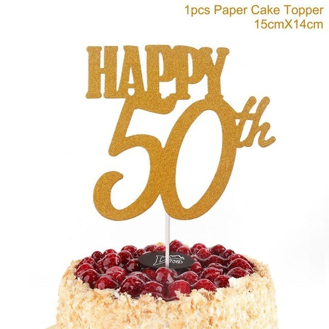 1PC Gold Happy 30th Birthday Cake Topper