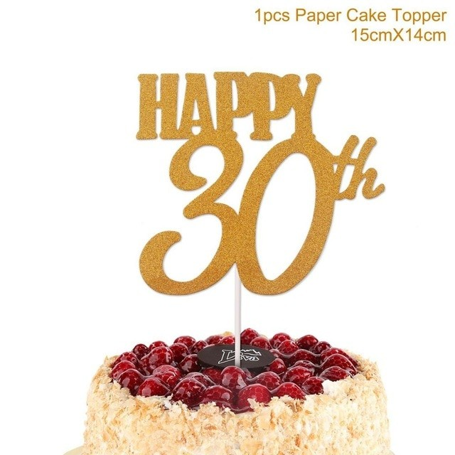 1PC Gold Happy 30th Birthday Cake