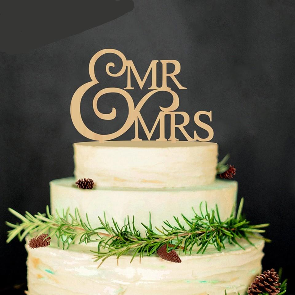 Mr Mrs Wooden Wedding Cake Topper Lovely Wood Table Cake Decor Bride