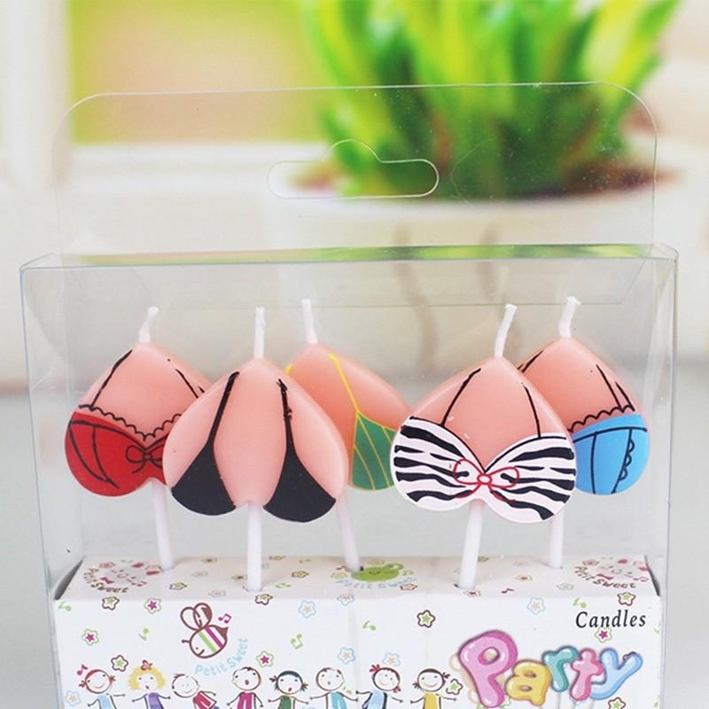 5Pcs Cake Topper Cartoon Bikini Candles Birthday Party Christmas Decoration New